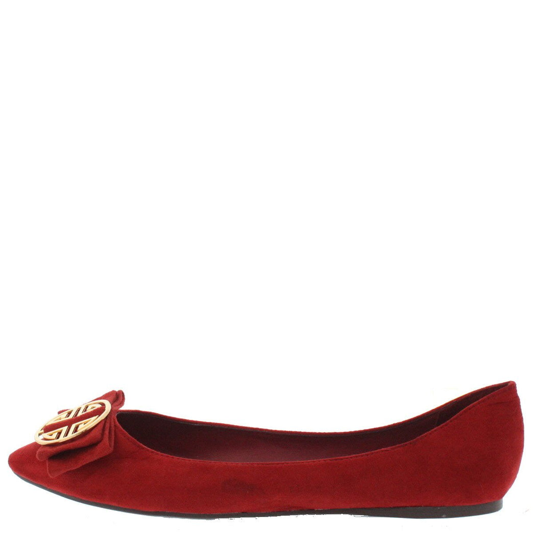Tasha25 Red Bow Emblem Pointed Toe Flat Shoes