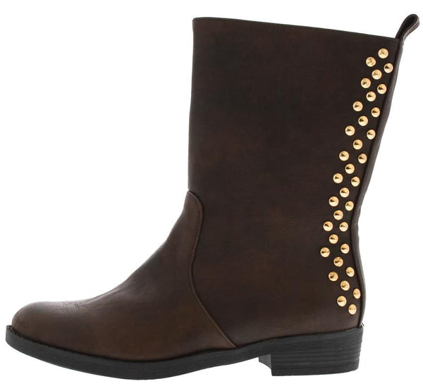 Teresagh006 Brown Studded Back Boot