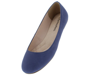Thesis Blue Round Toe Slip On Ballet Flat