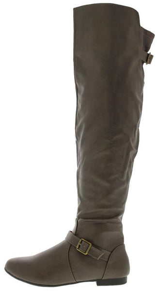 Tiara44 Taupe Flat Over the Knee Boot