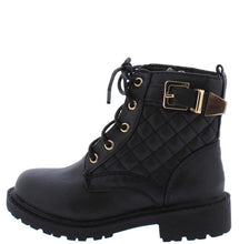 Load image into Gallery viewer, Timber180km Black Quilted Gold Buckle Accent Lugg Kids Boot