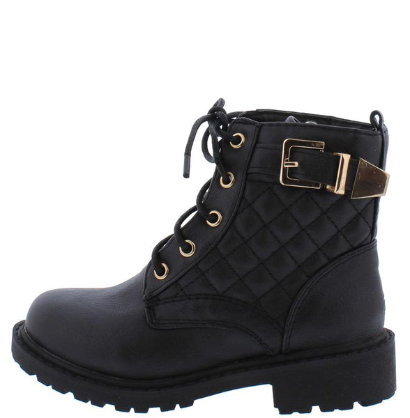 Timber180km Black Quilted Gold Buckle Accent Lugg Kids Boot
