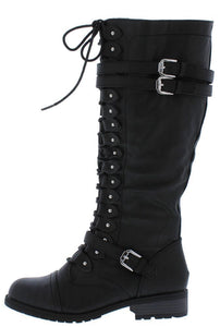 Timberly65 Black Multi Buckle Lace Up Knee High Boot