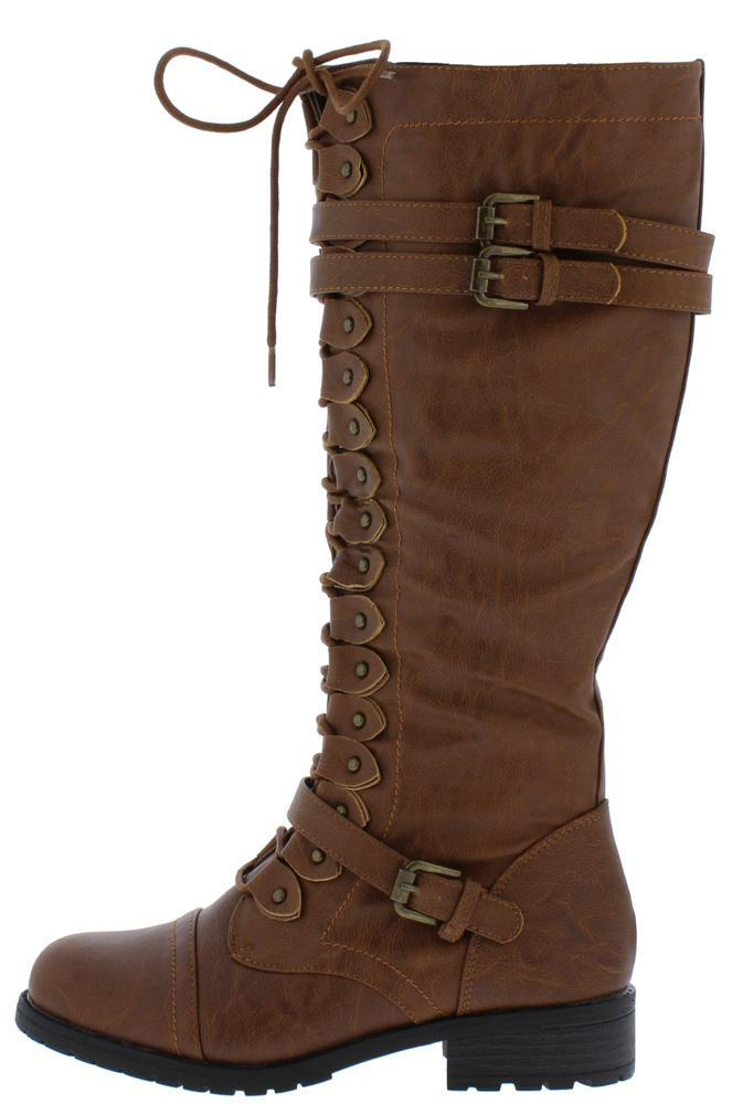 Timberly65 Cognac Multi Buckle Lace Up Knee High Boot
