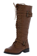 Load image into Gallery viewer, Timberly65 Cognac Multi Buckle Lace Up Knee High Boot