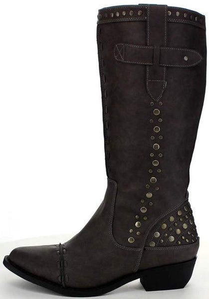 Topaz2 Grey Thick Stitch Stud Embellished Boot