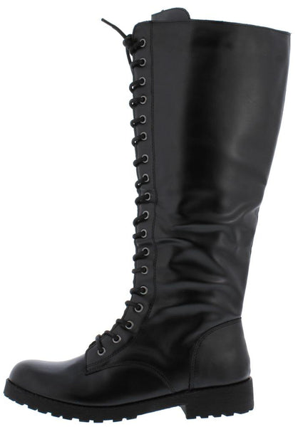 Travis13 Black Pu Lace Up Knee High Boot