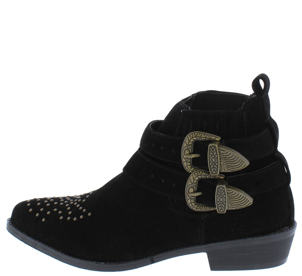 Tulip2 Black Studded Double Buckle Ankle Boot