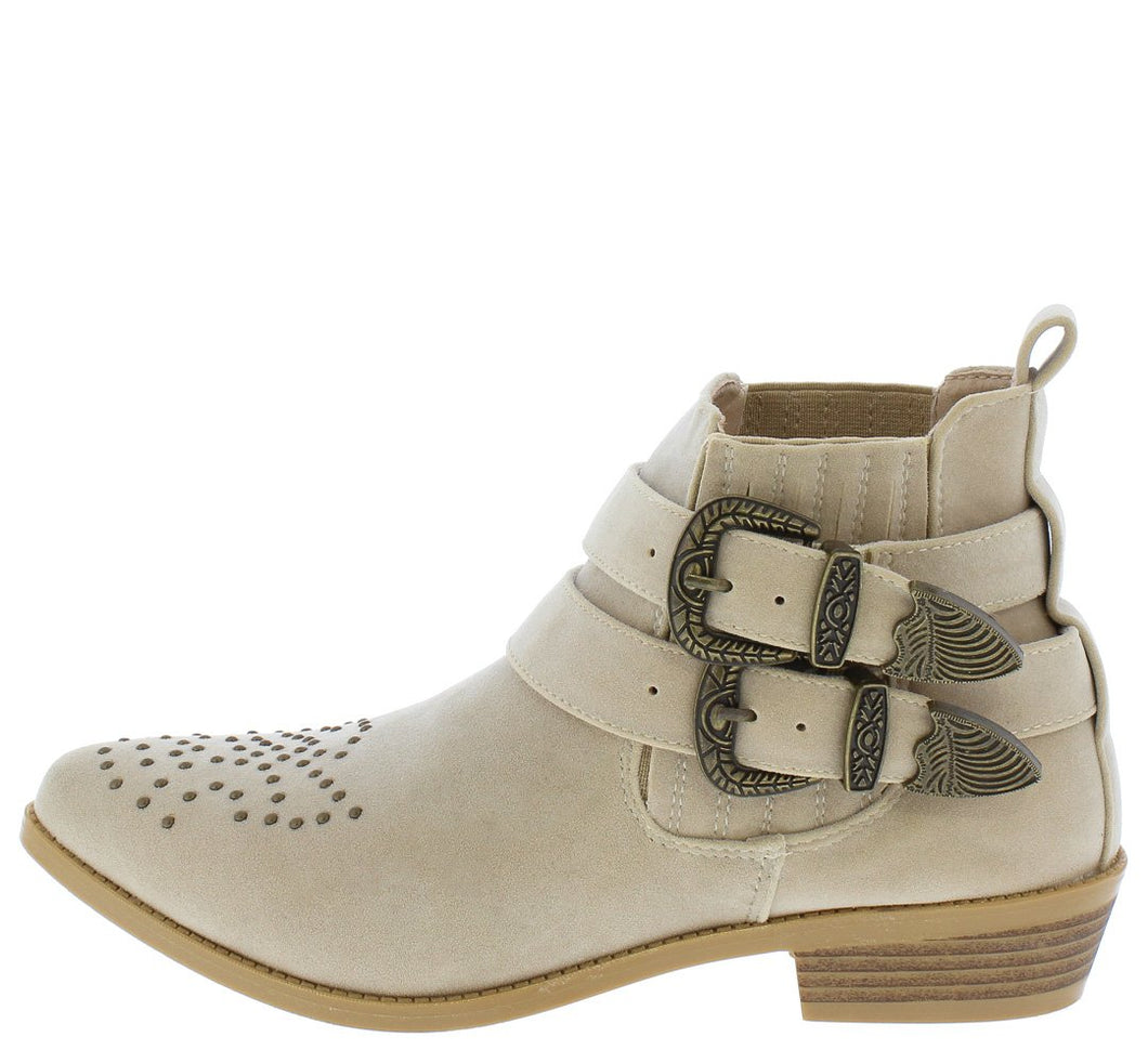 Tulip2 Nude Studded Double Buckle Ankle Boot