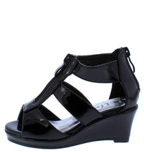 Load image into Gallery viewer, Tunas09K Black Pat Peep Toe Zip Front Tri Strap Kids Wedge