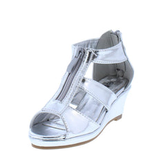 Load image into Gallery viewer, Tunas09K Silver Peep Toe Zip Front Tri Strap Kids Wedge