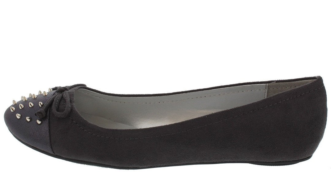 Typo Charcoal Spike Stud Toe Bow Slide on Flat
