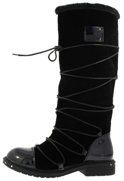 Ultra03 Metallic Black Pu Multi Wrap Fur Lined Boot