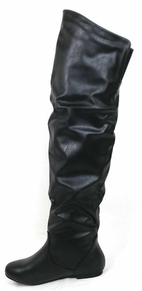 Vickie Hi Black Pu Over The Knee Flat Boot