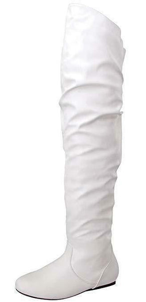 Vickie Hi White Pu Over The Knee Flat Boot