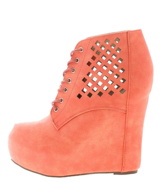 Lucy141 Coral Laser Cut Wedge Boot