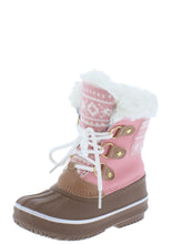 Load image into Gallery viewer, Value84k Pink Faux Fur Lace Up Kids Snow Boot - Wholesale Fashion Shoes ?id=17423004794924
