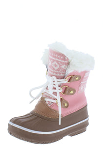 Value84k Pink Faux Fur Lace Up Kids Snow Boot - Wholesale Fashion Shoes ?id=17423004794924