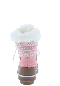 Value84k Pink Faux Fur Lace Up Kids Snow Boot - Wholesale Fashion Shoes ?id=17423004565548