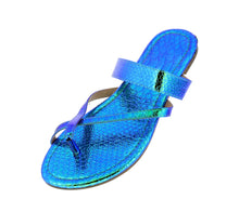 Load image into Gallery viewer, Brooklyn050 Green Hologram Thong Cross Strap Mule Slide Flat