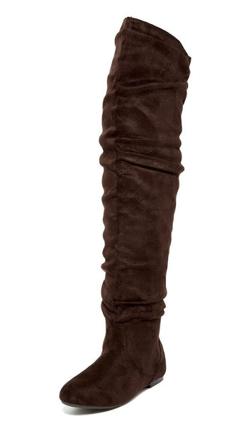 Vickie Hi Brown Suede Over The Knee Flat Boot