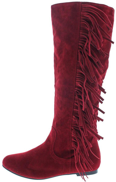 Vickie21 Red Faux Suede Fringe Boot