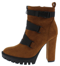 Load image into Gallery viewer, Vine Mocha Cross Clip Strap Lug Sole Ankle Boot