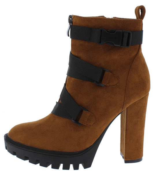 Vine Mocha Cross Clip Strap Lug Sole Ankle Boot