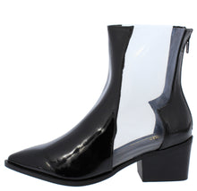 Load image into Gallery viewer, Vixen Black Pat Pu Pointed Toe Lucite Panel Boot