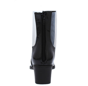 Vixen Black Pat Pu Pointed Toe Lucite Panel Boot