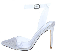Load image into Gallery viewer, Warhol Silver Rhinestone Pointed Toe Lucite Ankle Strap Heel