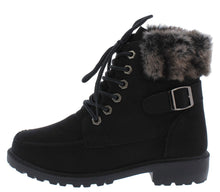 Load image into Gallery viewer, Whitney24 Black Lace Up Faux Fur Cuff Ankle Boot
