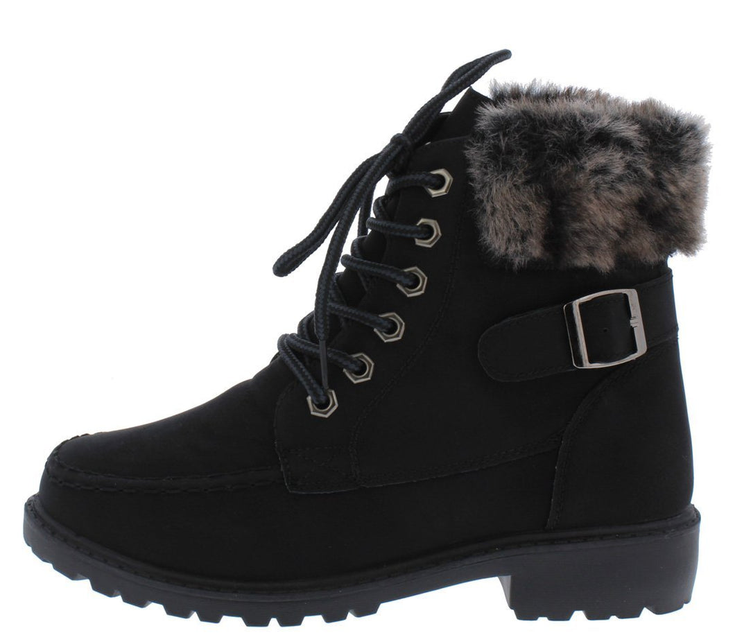 Whitney24 Black Lace Up Faux Fur Cuff Ankle Boot