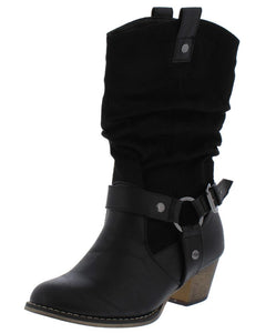 Wild06 Black Ring Buckle Pull Tab Stacked Heel Boot