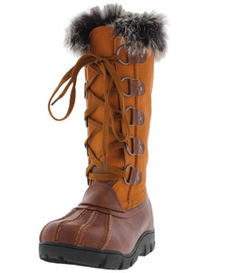 Ariana279 Tan Faux Fur Trim Snow Boot