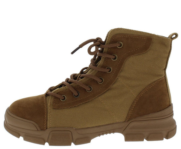 Wolf2 Tan Stitch Patch Lace Up Hiking Boot