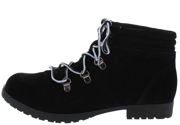 Wyatte78 Black Suede Pu Lace Up Lug Sole Ankle Boot