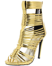 Load image into Gallery viewer, Makayla217 Gold Peep Toe Caged Strappy Stiletto Heel - Wholesale Fashion Shoes