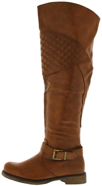 Zoey8w Cognac Quilted Riding Boot
