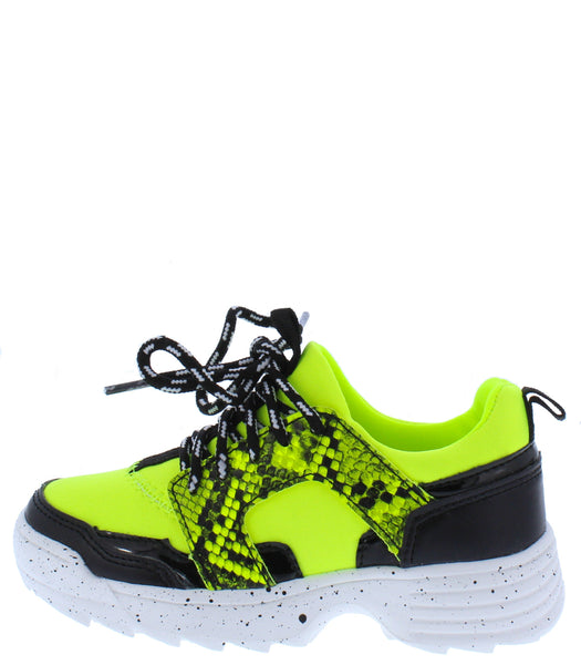 Above20k Neon Yellow Two Tone Lace Up Kids Sneaker Flat - Wholesale Fashion Shoes