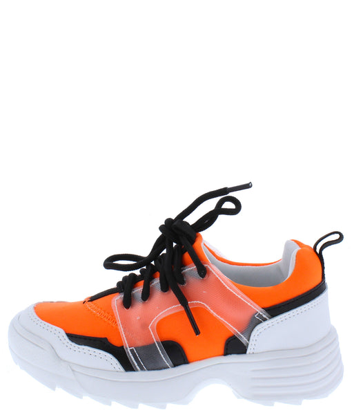 Adobe16k Neon Orange Kids Multi Lace Up Sneaker Flat - Wholesale Fashion Shoes