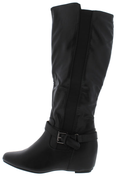 Amar97w Black Pu Ankle Buckle Knee High Boot - Wholesale Fashion Shoes
