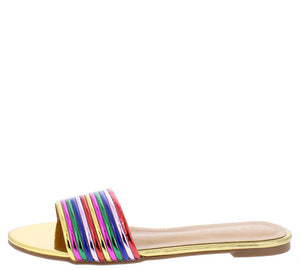 Jocelyn054 Gold Multi Open Toe Mule Slide Flat Sandal