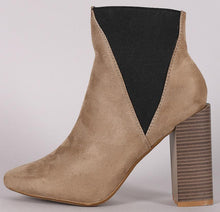 Load image into Gallery viewer, Bemice11 Taupe Elastic Offset Chunky Heel Ankle Boot