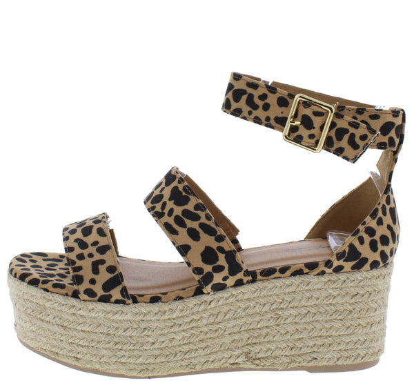 Bigbang04ax Tan Leopard Suede Pu Espadrille Wedge - Wholesale Fashion Shoes
