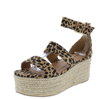 Load image into Gallery viewer, Bigbang04ax Tan Leopard Suede Pu Espadrille Wedge - Wholesale Fashion Shoes ?id=18165852897324
