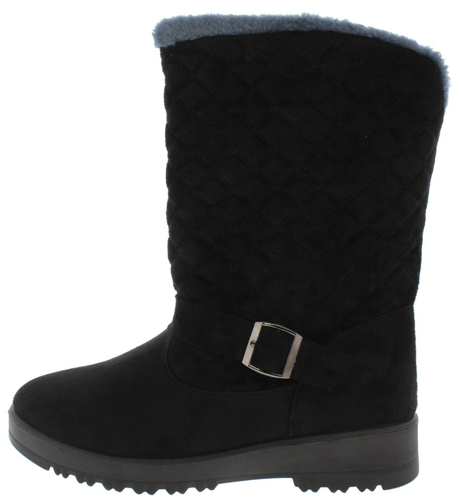 Charlotte171 Black Quilted Faux Fur Lined Lug Sole Boot - Wholesale Fashion Shoes ?id=5711200288833