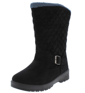 Charlotte171 Black Quilted Faux Fur Lined Lug Sole Boot - Wholesale Fashion Shoes ?id=5711200190529