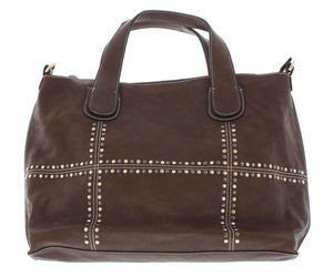 STUDDED FASHION WIDE SATCHEL BROWN