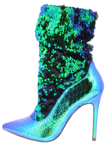 Monique024 Green Hologram Sequin Pull On Stiletto Boot - Wholesale Fashion Shoes ?id=17015093297196